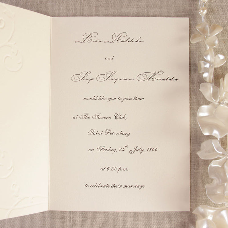 Traditional Ecry  Monogram Folded Classic Cream Day Invitation With Crystals
