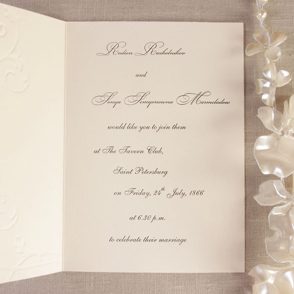 Embossed Cream Day Invitation With Crystals