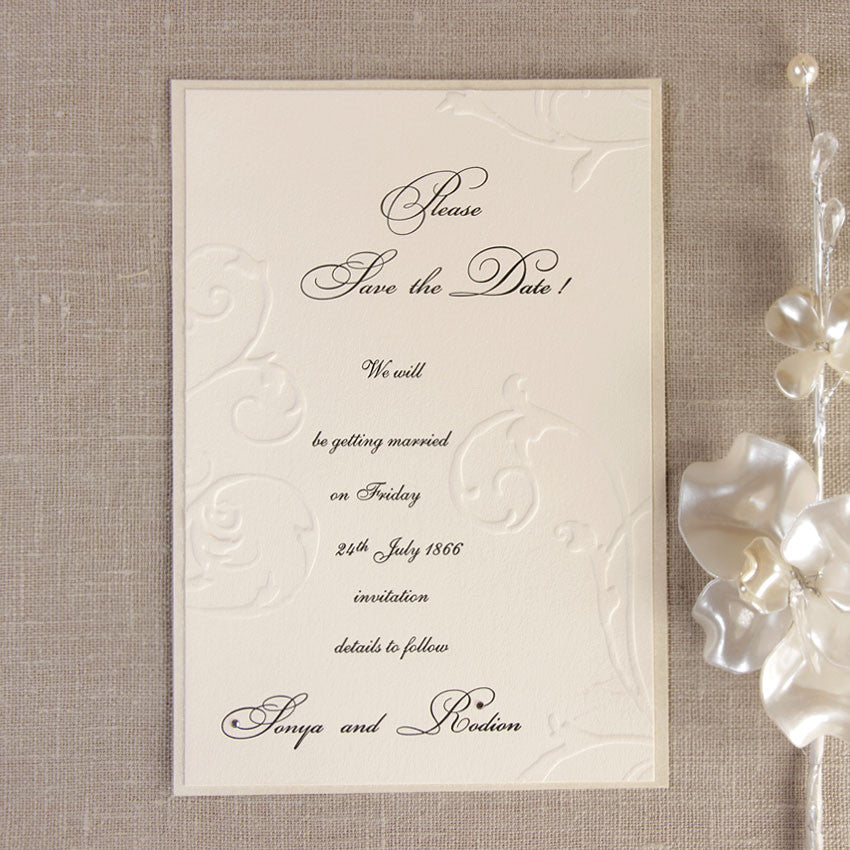 Embossed Cream Save the Date Card with Swarovski Crystals