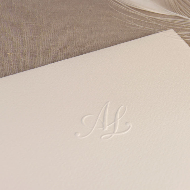Luxury Hand Made Torn Edge Italian Paper with Embossed Monogram Traditional Wedding Invitation