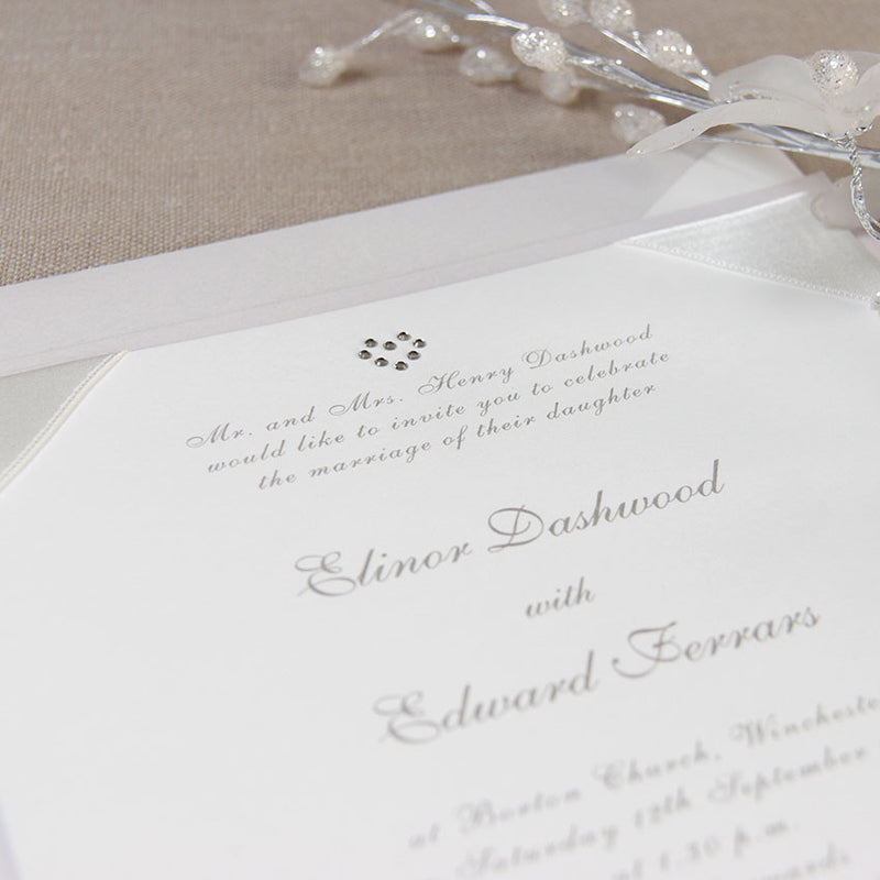 Classic White Duchess Satin Square Day Wedding Invitation