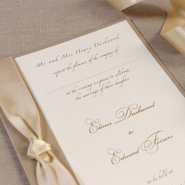 Gold Satin Ribbon Handmade Wedding Day Invitation