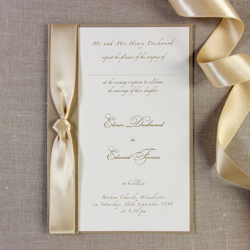 Gold Satin Ribbon Handmade Evening Invitation