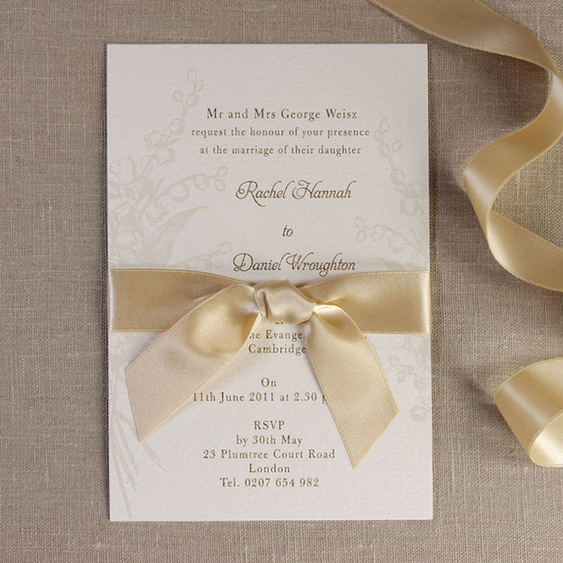 Pearl Embossed Elegant Lily of the Valley Invitation with Satin French Ribbon and Gold Ink