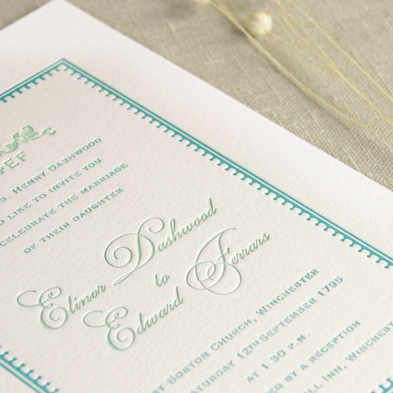 700 gsm Luxury Board Thick Letterpress Wedding Day Invitation