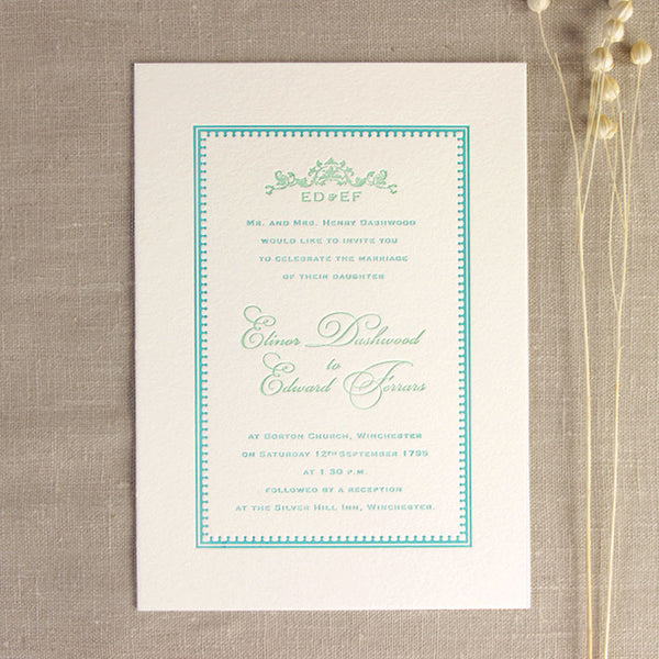 Extra Thick Mint Letterpress Day Invitation