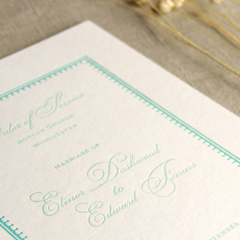 Mint Letterpress Order of Service / Menu