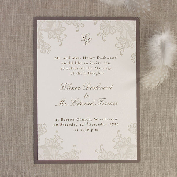 Brown Lace Day Invitation