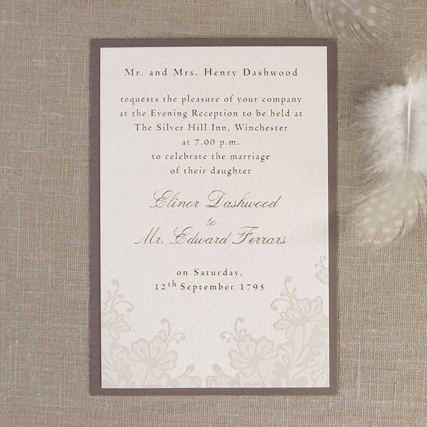 Brown Lace Evening Invitation