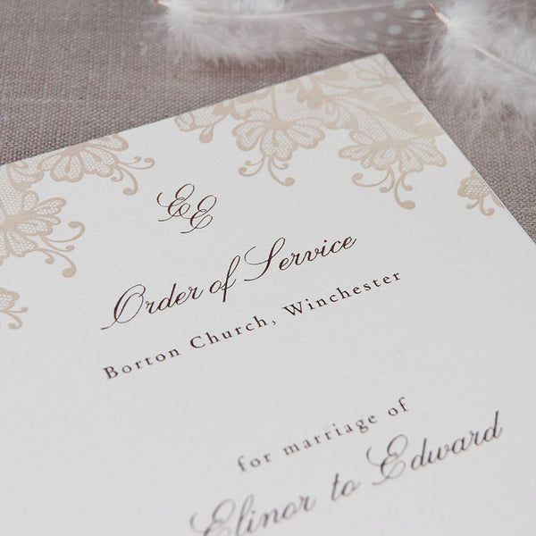 Brown Lace Order of Service / Menu