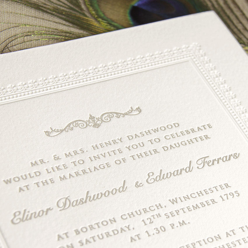 Embossed 710gsm Luxury Letterpress Elegant Day Invitation