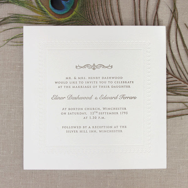 Embossed 600gsm Luxury Letterpress Elegant Day Invitation