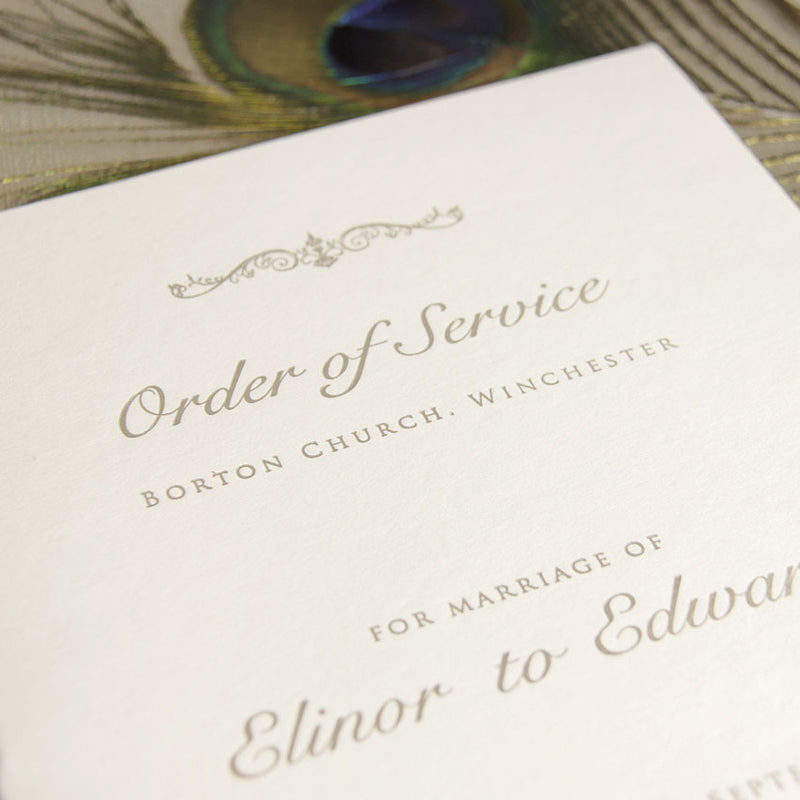 Embossed Luxury Letterpress Elegant Order of Service / Menu