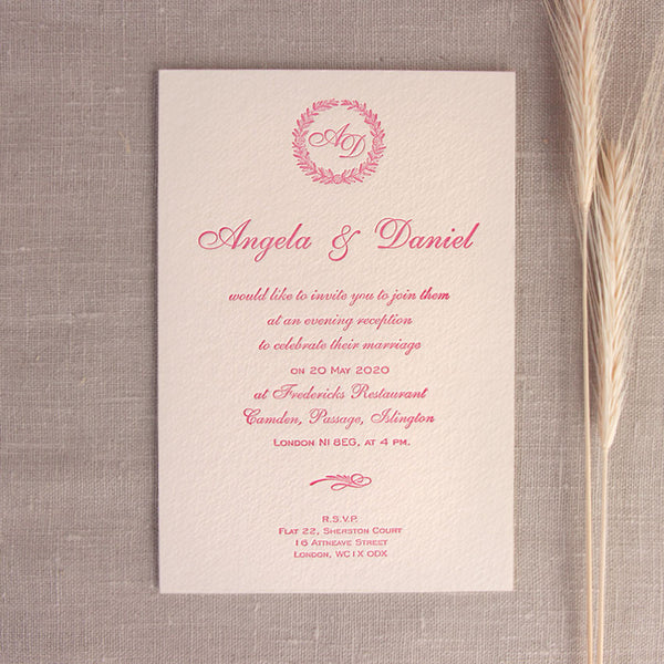 Luxury Letterpress Pink Laurel Evening Invitation With Embossing