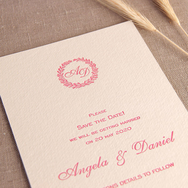 Luxury Letterpress Pink Laurel Thank You / Save the Date / Reply Card