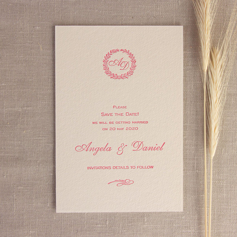 Luxury Letterpress 100% Cotton Board with Monogram Wreath Save the Date Card