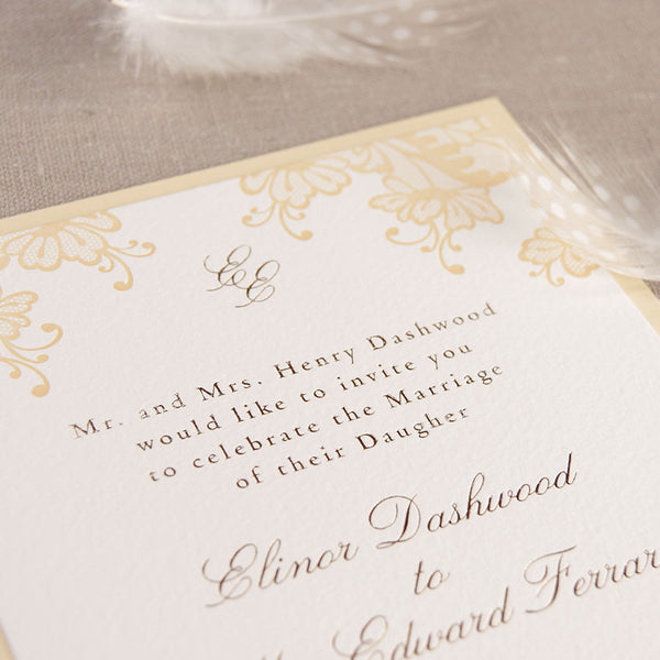 Yellow Letterpress Lace Wedding Day Invitation with Gold Foil