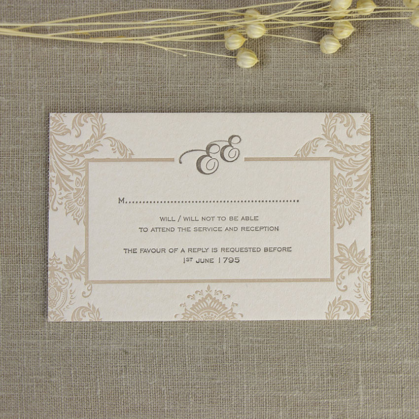 Embossed Damasque Reply, Rsvp Card