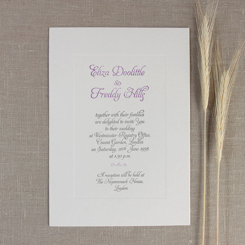 Embossed Letterpress Lilac Frame Evening Wedding Invitation