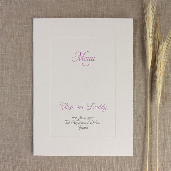 Embossed Letterpress Lilac Frame Order of Service / Menu