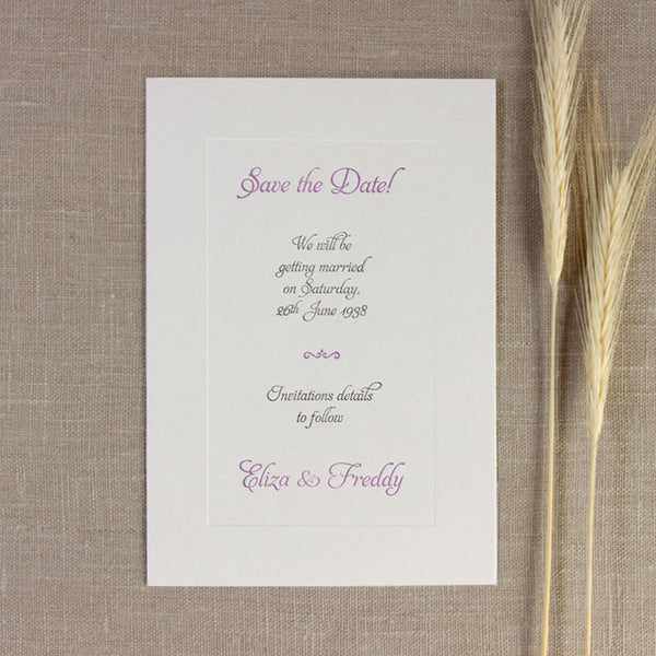 Embossed Letterpress Lilac Frame Reply / Thank You / Save the Date Card