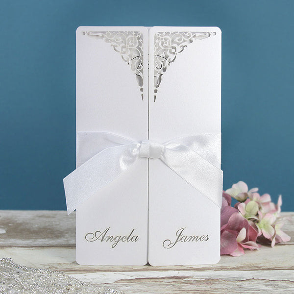 White Gate Lace Day Invitation