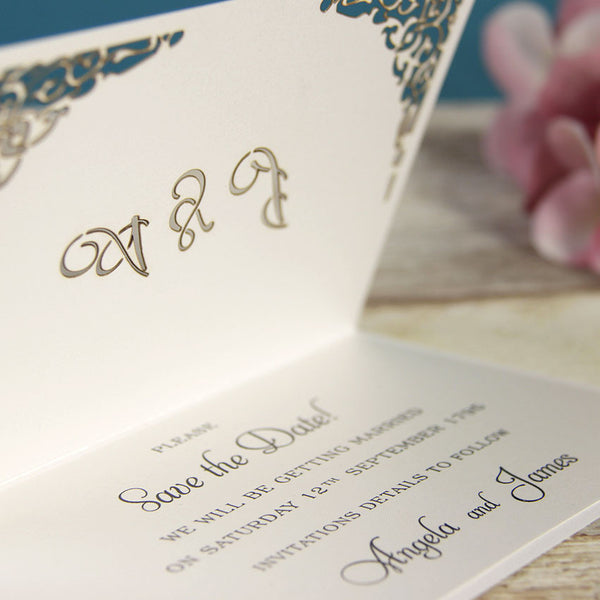 White Gate Lace Save the Date / Reply / Thank You Card