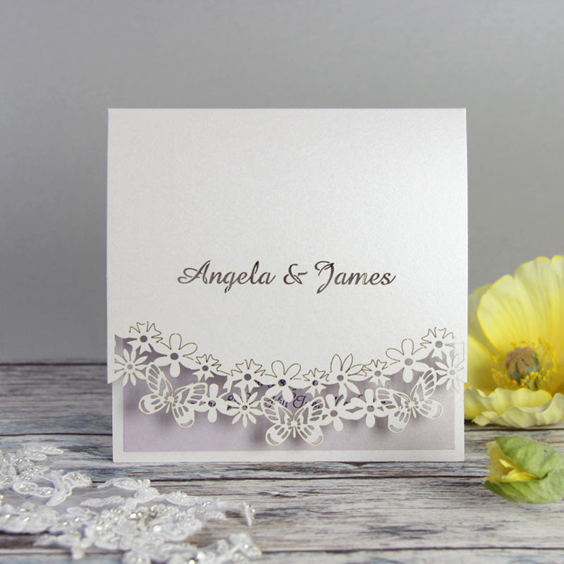 Laser Cut Butterfly Purple Filigree Evening Invitation