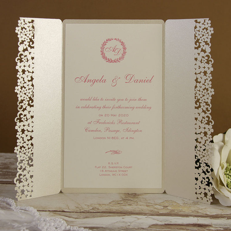 White Floral Lace Day Invitation Sample for Laura
