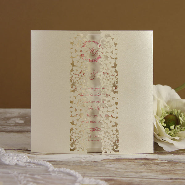 White Floral Lace Evening Invitation