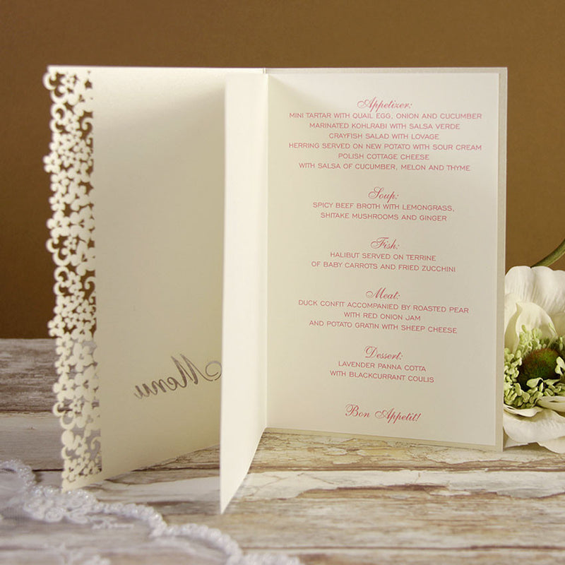 White Floral Order of Service / Menu