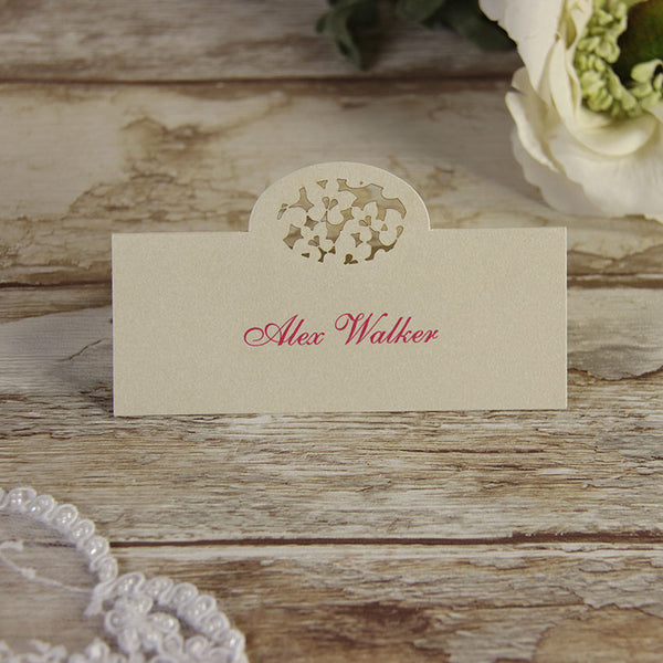 White Floral Place Card