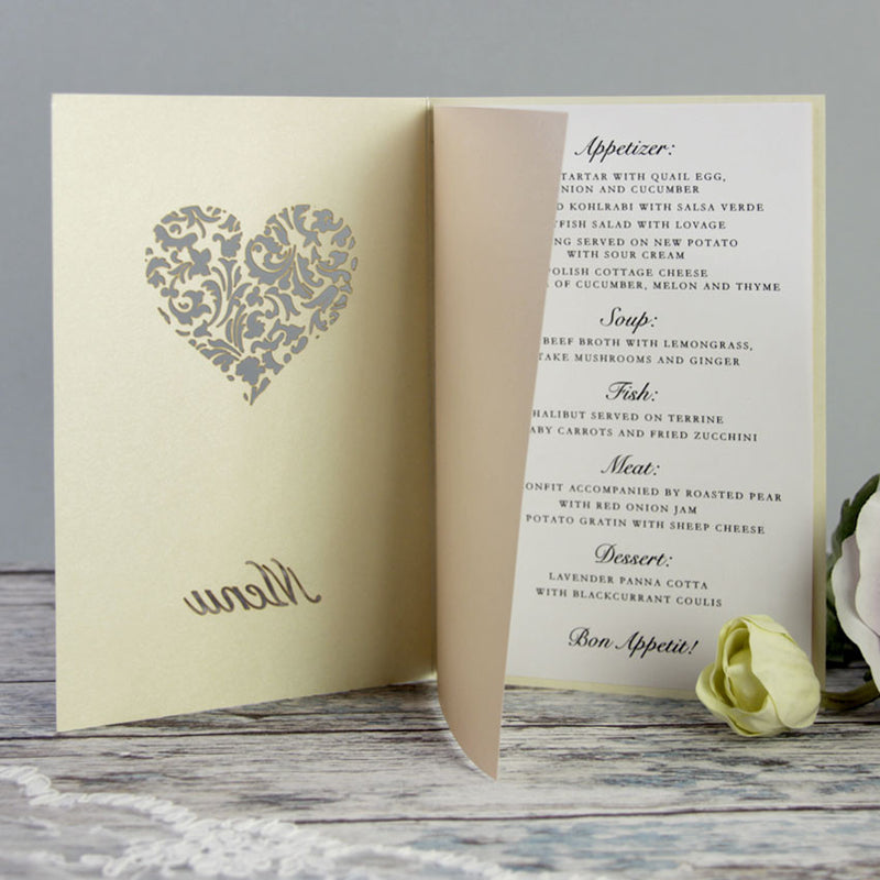 A Lasercut Shamrock Irish Wedding Order of Service / Menu