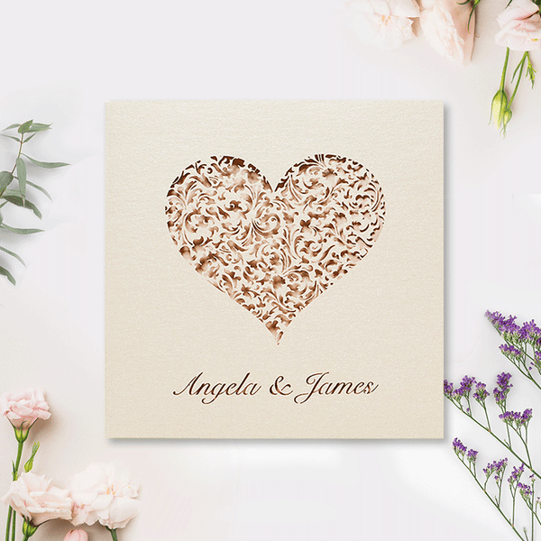 A Lace Heart Day Laser cut Invitation