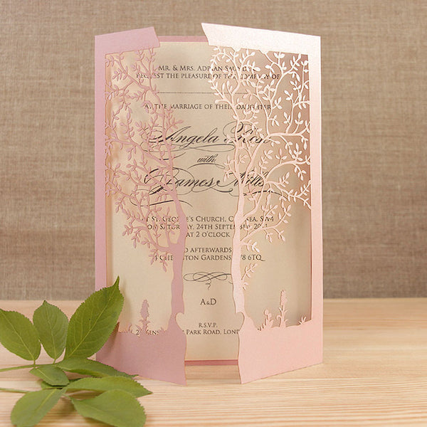 ... Intricate Laser Cut Tree Card Day Invitation ...