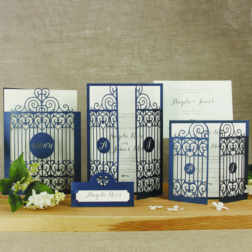 Ornamental Gate Laser Cut Wedding Invitation Set : with Rsvp and
