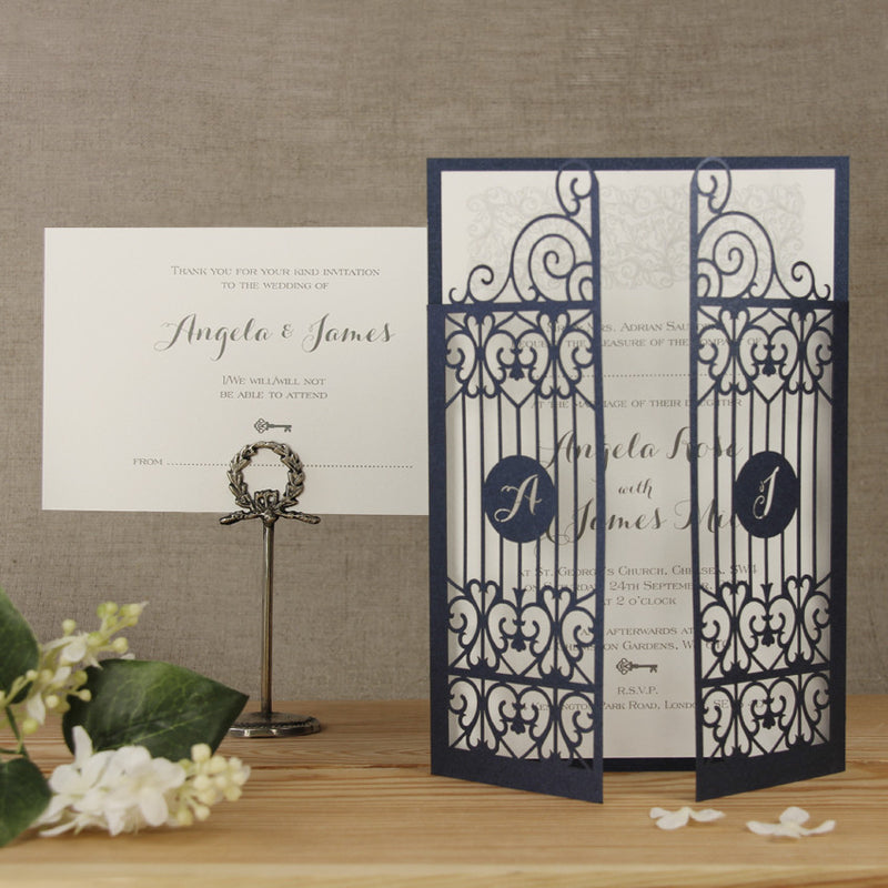 Venue Digital Image Ornamental Gate Laser Cut Day Invitation & Rsvp Wedding Set