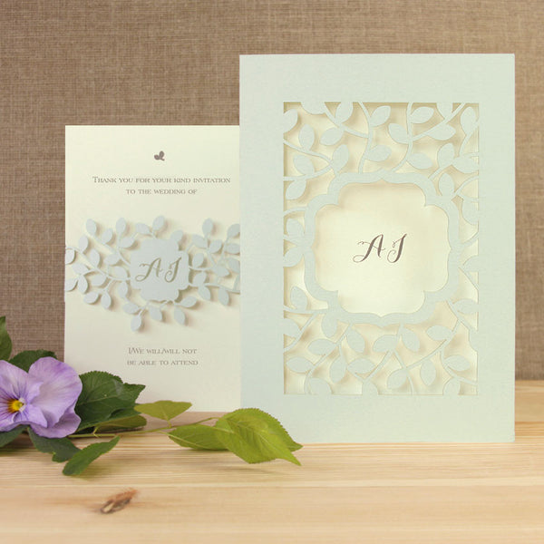 Leafy Laser Cut Wedding Day Invitation and RSVP Card Set