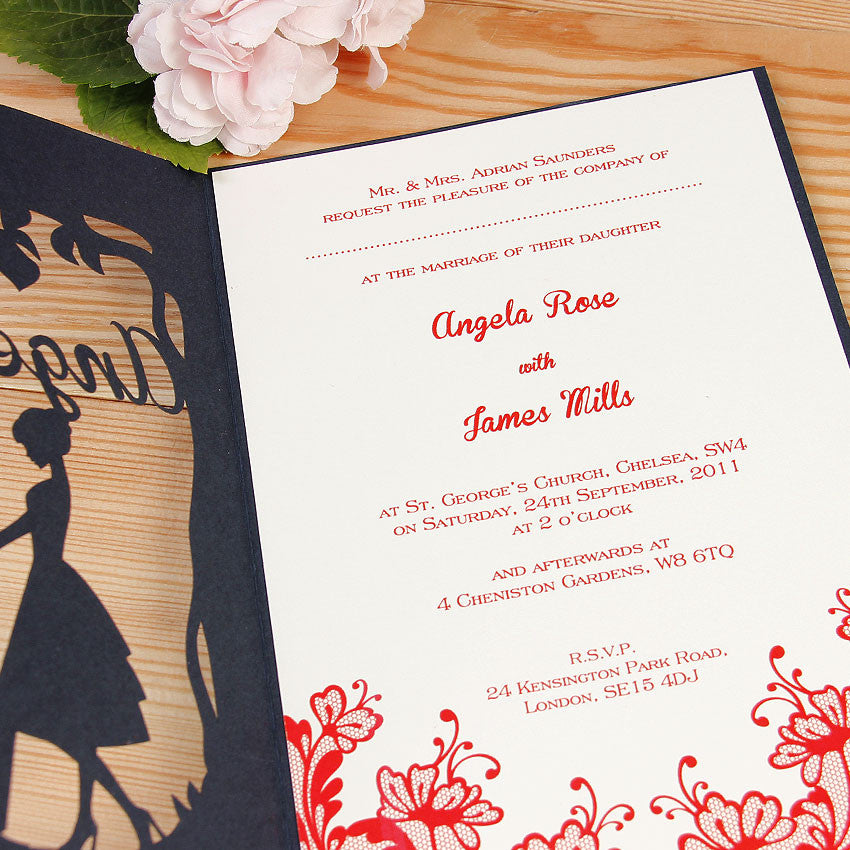 She said YES Figure Laser Cut Wedding Invitation + RSVP Set