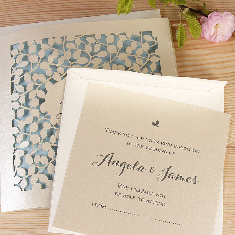 Leaf Laser Cut Day Invitation and RSVP Set