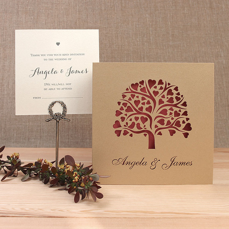 Gold Tree with Red Insert Cut Day Invitation and RSVP Set