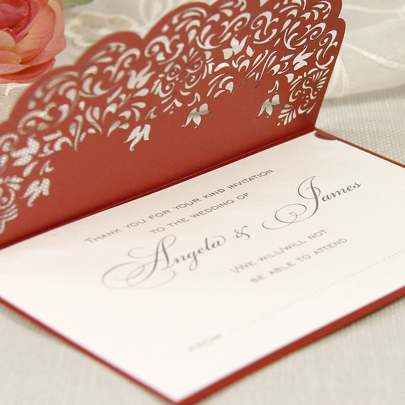 Intricate Lace Laser Cut Save the Date / Thank You / Reply Card