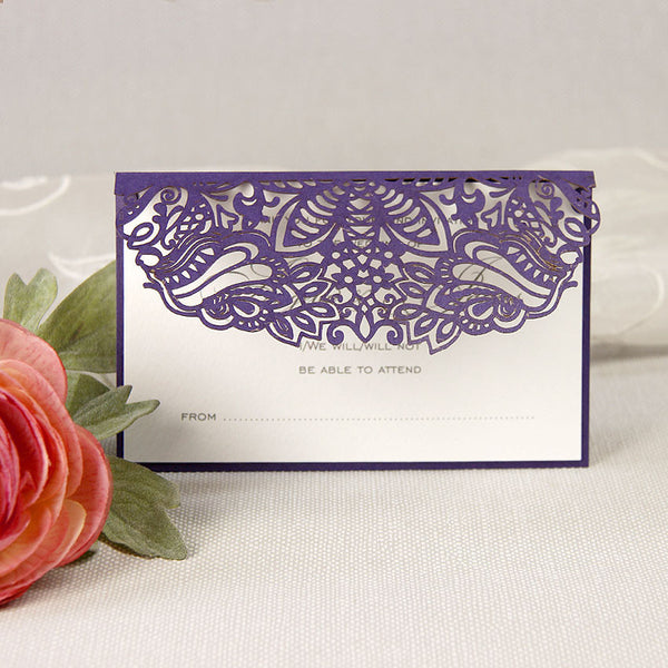 Intricate Filigree Lace Laser Cut Save the Date / Thank You / Reply Card