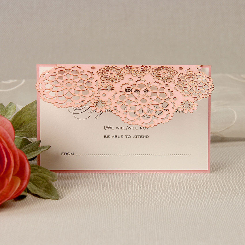 Filigree Lace Laser Cut Reply Card - Rsvp