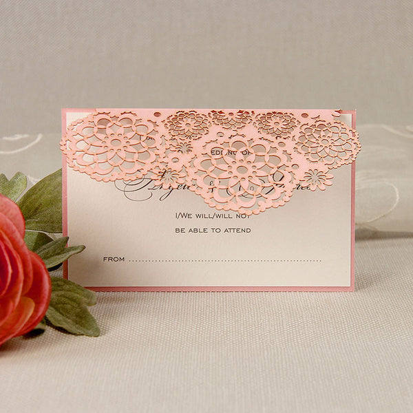 Filigree Lace Laser Cut Save the Date / Thank You / Reply Card
