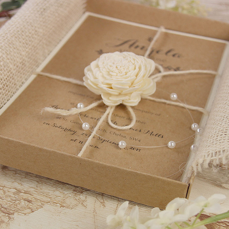 Delicate Flower Rustic Wedding Day Invitation Box with Twine and Pearl Drops