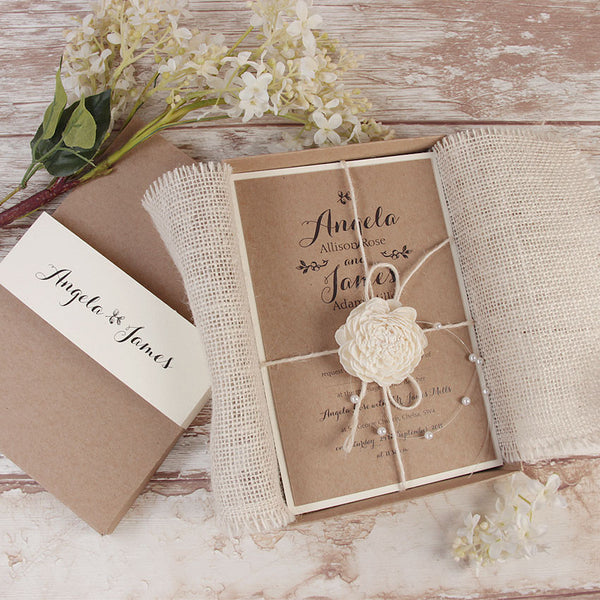 Wedding invitations cartalia delicate flower rustic wedding day invitation box with twine and pearl drops stopboris Image collections