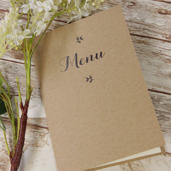 Delicate Flower Rustic Wedding Order of Service / Menu