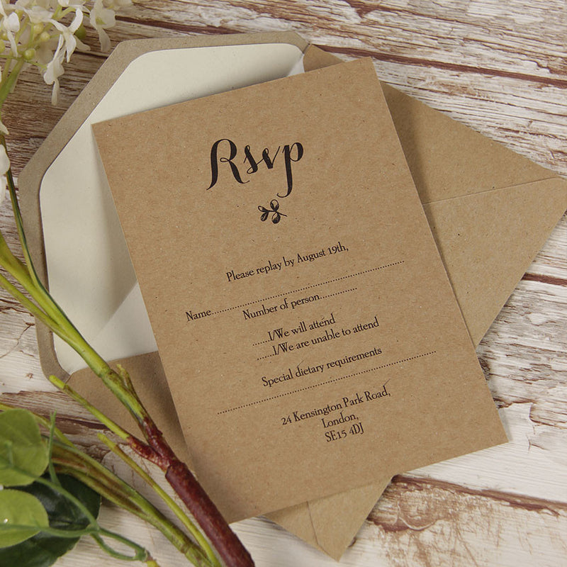 Delicate Flower Rustic Wedding Reply Card, Rsvp