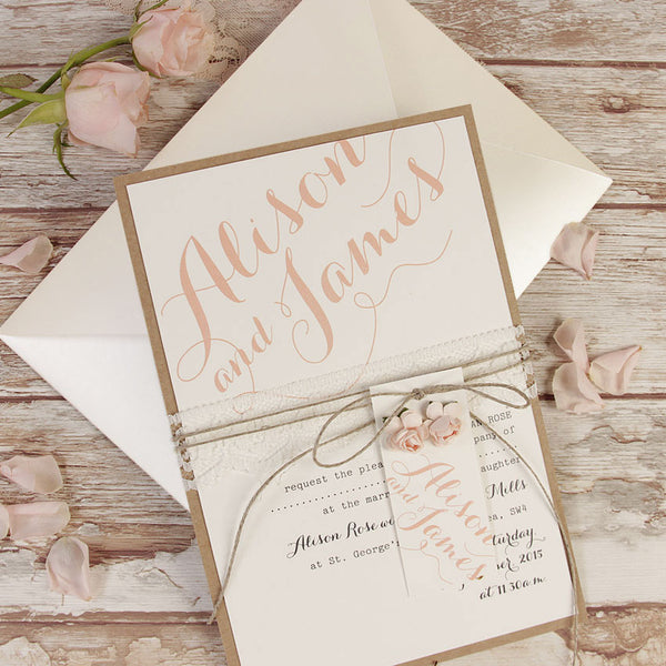 Pink Flower Lace Rustic Wedding Day Invitation